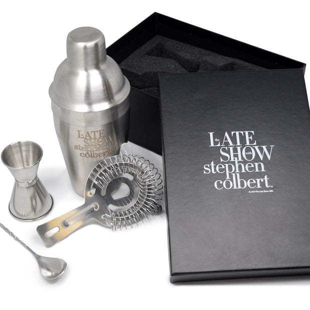 The Late Show with Stephen Colbert Logo Laser Etched Barware Set with Gift Box | Official CBS Entertainment Store