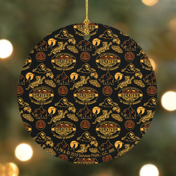 Survivor 20 Years 40 Season All Over Black & Yellow Tribal Pattern Round Ceramic Ornament | Official CBS Entertainment Store