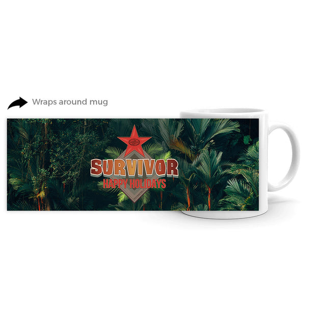 Survivor Happy Holidays White Mug | Official CBS Entertainment Store