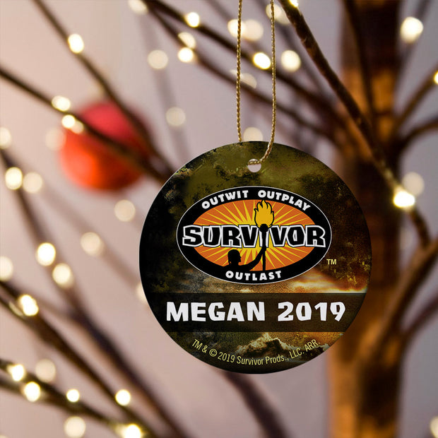 Survivor Personalized Outwit, Outplay, Outlast Logo Double Sided Ornament | Official CBS Entertainment Store