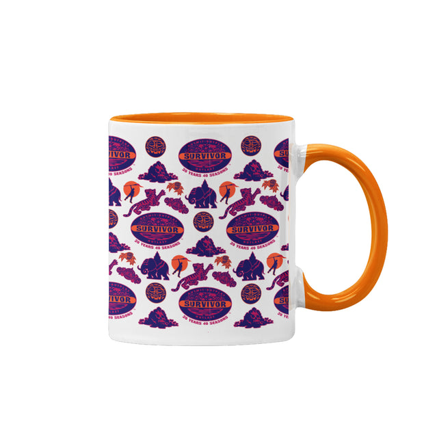 Survivor 20 Years 40 Seasons All Over Purple Logo Pattern Two-Tone Mug