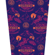 Survivor 20 Years 40 Seasons All Over Purple Logo Pattern 17 oz Pint Glass | Official CBS Entertainment Store