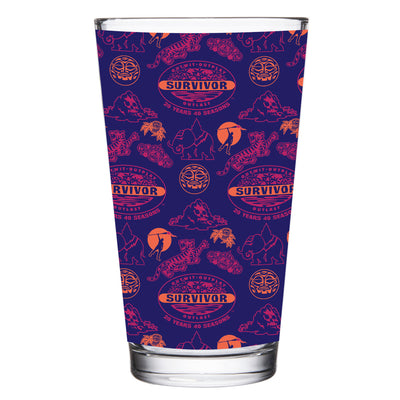 Survivor 20 Years 40 Seasons All Over Purple Logo Pattern 17 oz Pint Glass