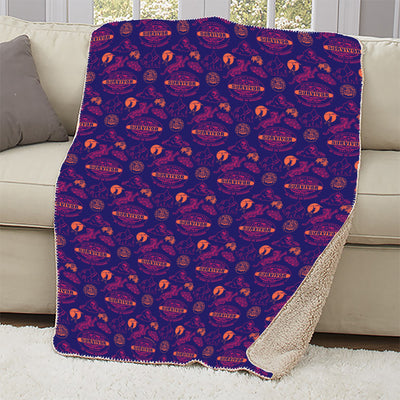 Survivor 20 Years 40 Seasons All Over Purple Logo Pattern Sherpa Blanket