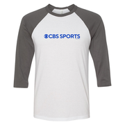 CBS Sports Logo 3/4 Sleeve Baseball T-Shirt - Grey