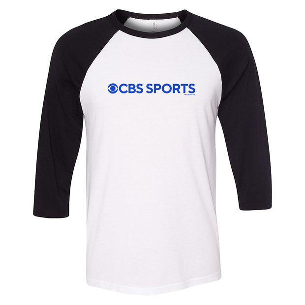 CBS Sports Logo 3/4 Sleeve Baseball T-Shirt - Black