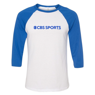 CBS Sports Logo 3/4 Sleeve Baseball T-Shirt -Royal