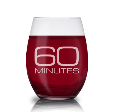 CBS News 60 Minutes Laser Engraved Stemless Wine Glass
