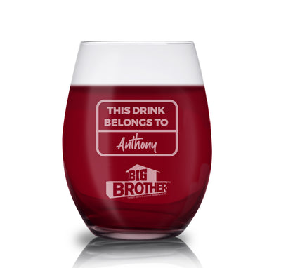 Big Brother Logo Personalized Stemless Wine Glass | Official CBS Entertainment Store