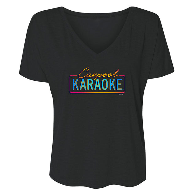 Carpool Karaoke Neon Logo Women's Relaxed V-Neck T-Shirt