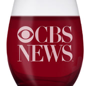 CBS News Vintage Logo Laser Engraved Stemless Wine Glass | Official CBS Entertainment Store