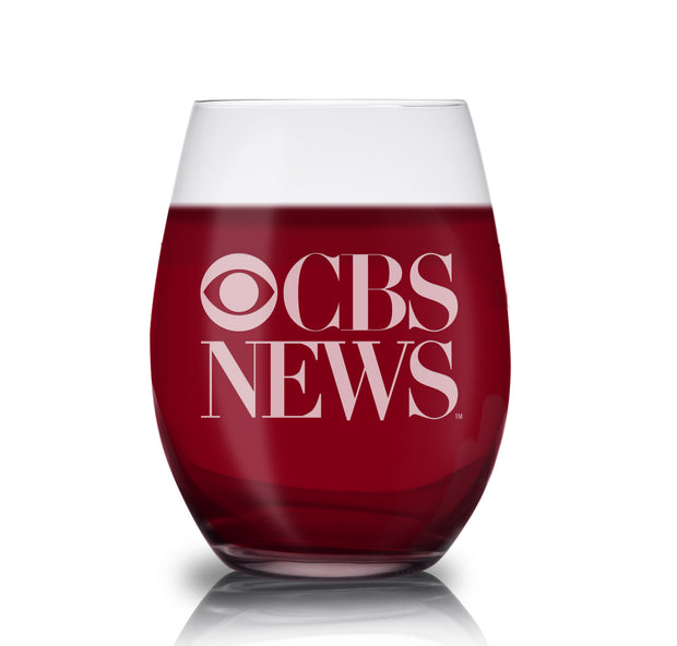 CBS News Vintage Logo Laser Engraved Stemless Wine Glass