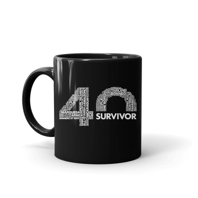 Survivor 40th Season Anniversary Logo Black Mug