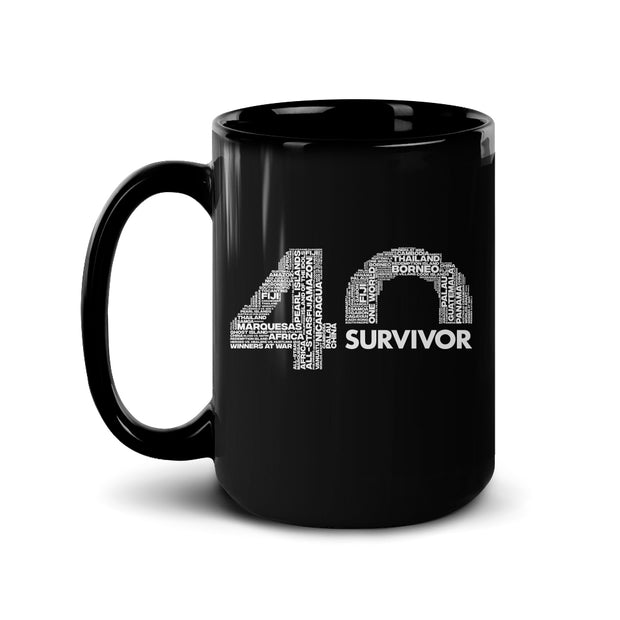 Survivor 40th Season Anniversary Logo Black Mug | Official CBS Entertainment Store