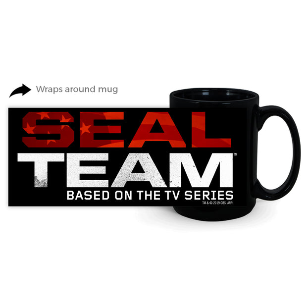 SEAL Team Stacked Logo 15 oz Black Mug | Official CBS Entertainment Store