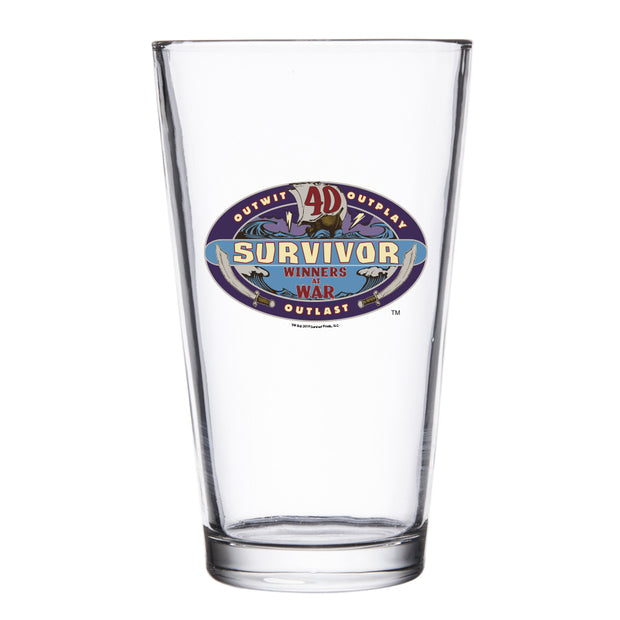 Survivor Season 40 Winners at War Logo Drinking Glass
