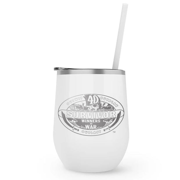 Survivor Season 40 Winners at War Logo 12 oz Stainless Steel Wine Tumbler with Straw | Official CBS Entertainment Store