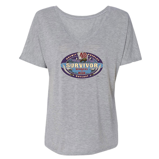 Survivor Season 40 Winners at War Logo Women's Relaxed V-Neck T-Shirt | Official CBS Entertainment Store