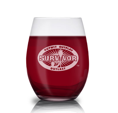 Survivor Outwit, Outplay, Outlast Stemless Wine Glass | Official CBS Entertainment Store
