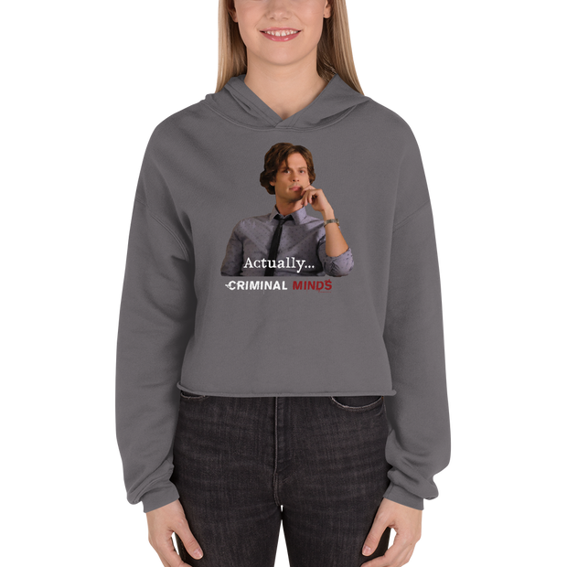 Criminal Minds Spencer Reid Actually... Women's Fleece Crop Hooded Sweatshirt | Official CBS Entertainment Store