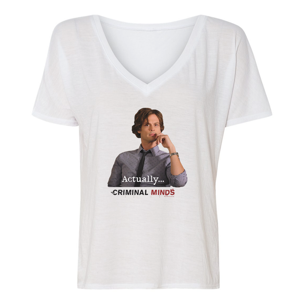 Criminal Minds Spencer Reid Actually... Women's Relaxed V-Neck T-Shirt | Official CBS Entertainment Store
