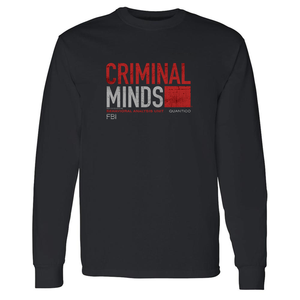 Criminal Minds Distressed BAU Quantico Adult Long Sleeve T-Shirt