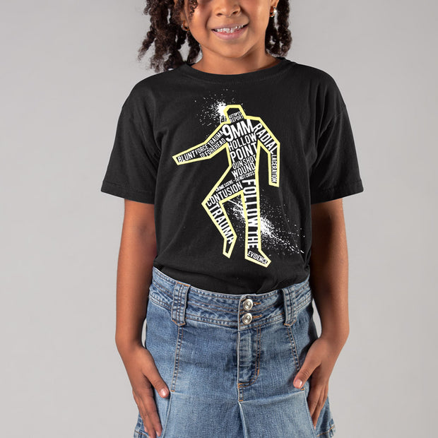 CSI: Crime Scene Investigation Glow in the Dark Body Outline Youth Short Sleeve T-Shirt | Official CBS Entertainment Store