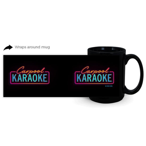 Carpool Karaoke Neon Logo 11 oz Black Mug