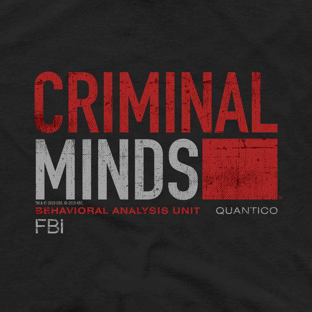 Criminal Minds Distressed BAU Quantico Adult Short Sleeve T-Shirt