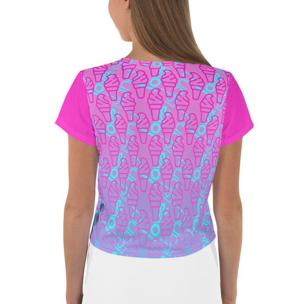 Love Island I've Got A Text Purple Pattern Women's All-Over Print Crop T-Shirt | Official CBS Entertainment Store