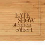 The Late Show with Stephen Colbert Logo Laser Engraved Bamboo Cutting Board | Official CBS Entertainment Store