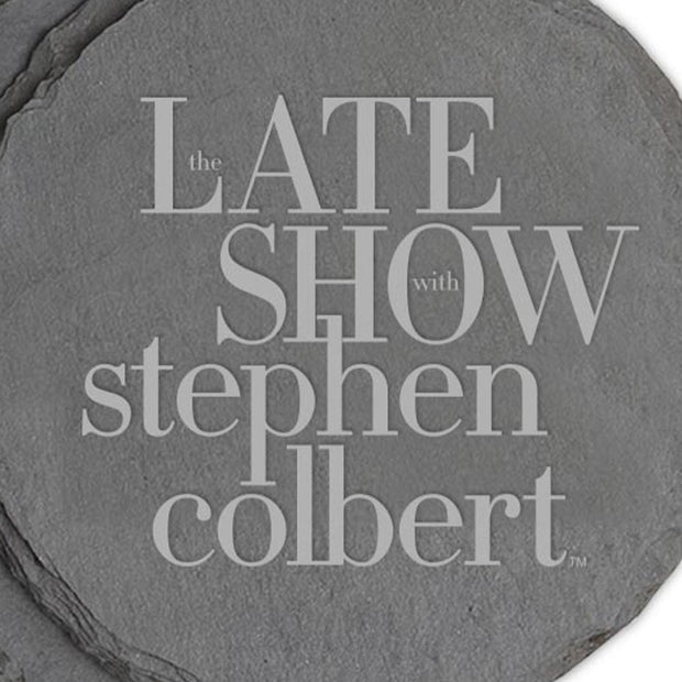 The Late Show with Stephen Colbert Logo Laser Engraved Slate Coaster - Set of 4 | Official CBS Entertainment Store
