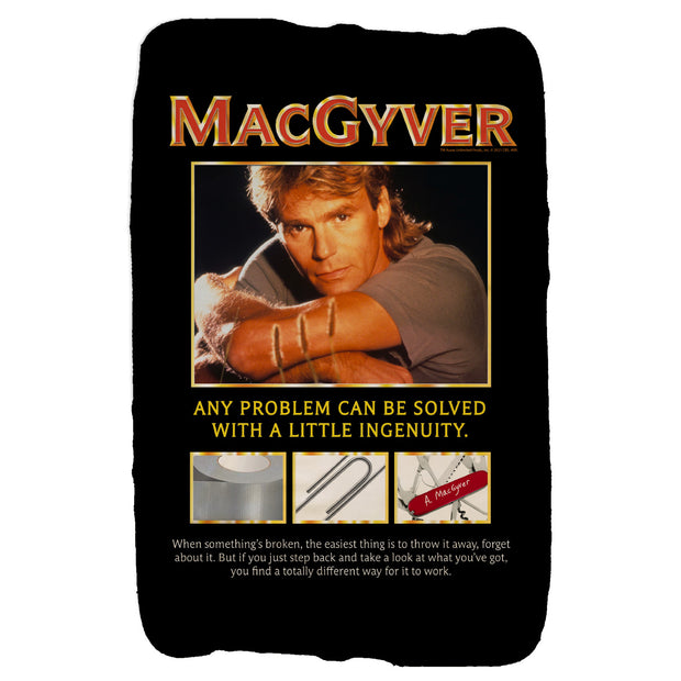 MacGyver Original Series Ingenuity Design Sherpa Blanket | Official CBS Entertainment Store