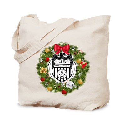NCIS Special Agent Badge Wreath Canvas Tote Bag | Official CBS Entertainment Store