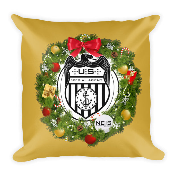 "NCIS Special Agent Badge Wreath Throw Pillow - 16"" x 16"" 