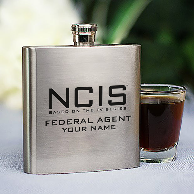 NCIS Logo Personalized Flask