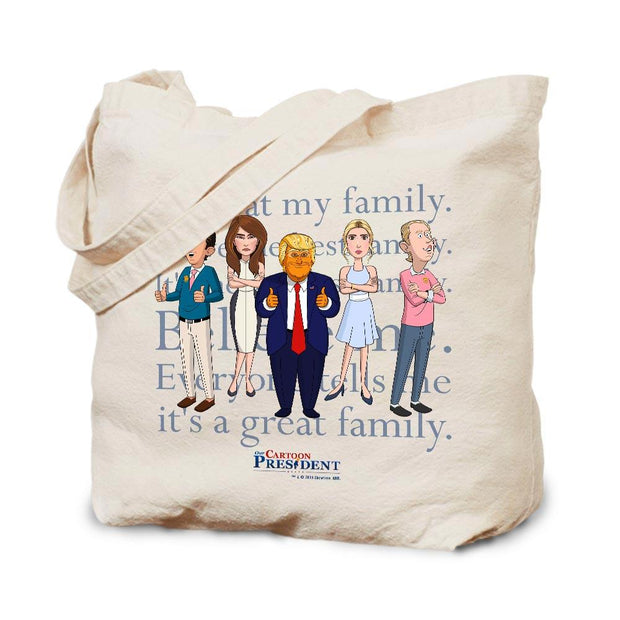 Our Cartoon President Trump Family Canvas Tote Bag | Official CBS Entertainment Store