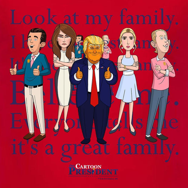 Our Cartoon President Trump Family Adult Short Sleeve T-Shirt