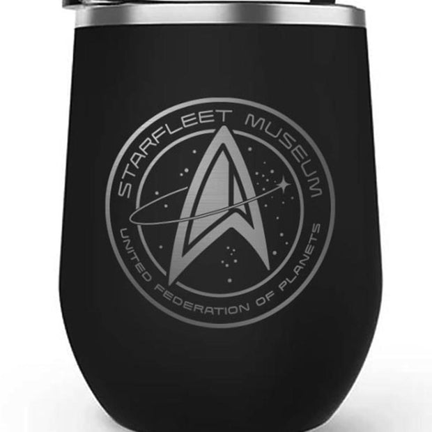 Star Trek: Picard Starfleet Museum 12 oz Stainless Steel Wine Tumbler with Straw | Official CBS Entertainment Store