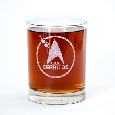 Star Trek: Lower Decks Cerritos Bar Logo Laser Engraved Rocks Glass | Official CBS Entertainment Store