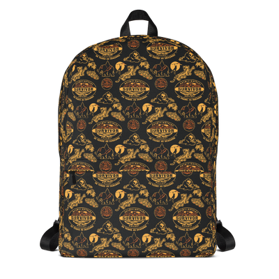 Survivor 20 Years 40 Seasons All Over Black and Yellow Tribal Pattern Premium Backpack