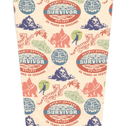 Survivor 20 Years 40 Seasons All Over Color Logo Pattern 17 oz Pint Glass | Official CBS Entertainment Store