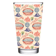 Survivor 20 Years 40 Seasons All Over Color Logo Pattern 17 oz Pint Glass
