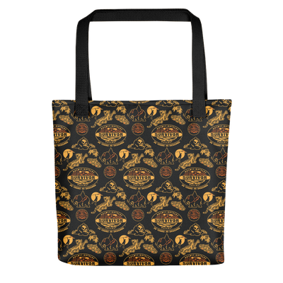 Survivor 20 Years 40 Seasons All Over Black and Yellow Tribal Pattern Premium Tote Bag