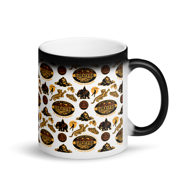 Survivor 20 Years 40 Seasons All Over Black and Yellow Tribal Pattern 11 oz Black Color Changing Mug | Official CBS Entertainment Store
