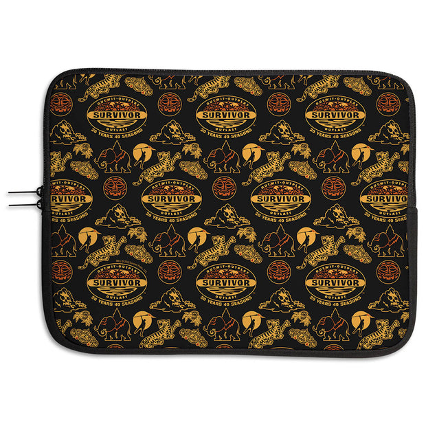 Survivor 20 Years 40 Seasons All Over Black and Yellow Tribal Pattern Neoprene Laptop Sleeve