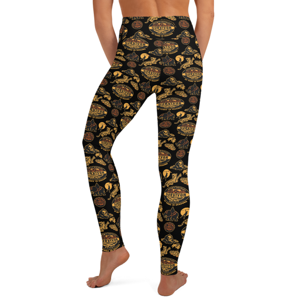 Survivor 20 Years 40 Seasons All Over Black and Yellow Tribal Pattern Women's All-Over Print Yoga Leggings