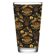 Survivor 20 Years 40 Seasons All Over Black and Yellow Tribal Pattern 17 oz Pint Glass
