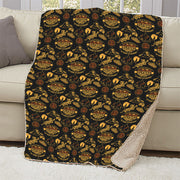 Survivor 20 Years 40 Seasons All Over Black and Yellow Tribal Pattern Sherpa Blanket