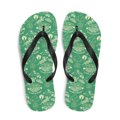 Survivor 20 Years 40 Seasons All Over Green Tribal Pattern Adult Flip Flops